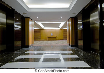 hotel hall interior - modern interior design of hotel hall...