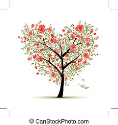 Floral love tree for your design, heart shape