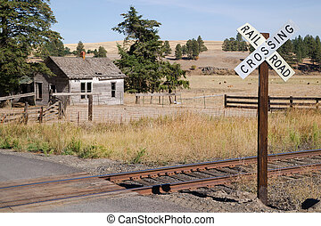 Railroad Crossing Sign Tracks Abandoned House Rural Ranch -...