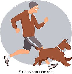 Old friends - Energetic senior man jogging with his Airedale...