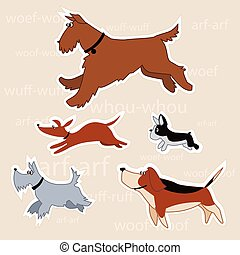 Cartoon dogs - Set of five vector illustrations of cartoon...