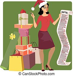 Holiday shopping - Stressed woman in a Santa hat crossing...