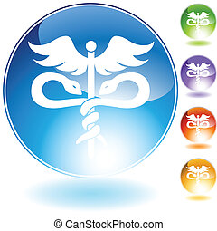 medical symbol crystal - medical themed icon on web button.