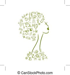 Female head, spa concept for your design. Vector...