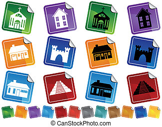 Building Stickers - Set of colorful building themed sticker...