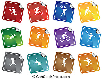 Sports Sticker Icon Set - Athletic themed buttons