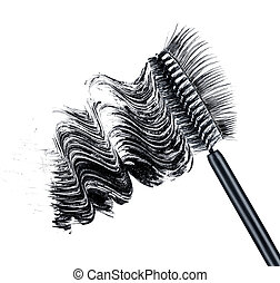 smear of black brush mascara and false eyelashes isolated on...