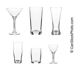 set with different empty glasses and mugs on white...