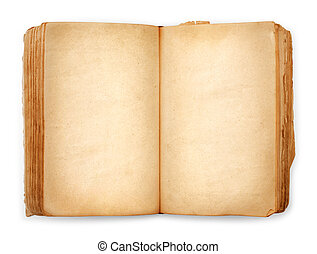 old book open blank pages, empty yellow paper isolated on...