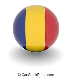 High resolution ball with flag of Romania - 3D Ball with...