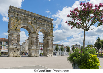 Arch of Saintes France with Flowers
