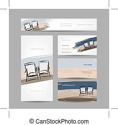 Business cards design, chairs on the beach