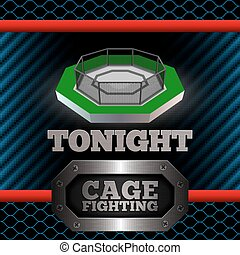Cage Fighting Poster Vector - Cage Fighting MMA Poster...