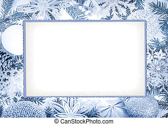 Christmas frame in blue tones for greeting card