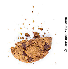 Break up cookies with chocolate pieces isolated on white
