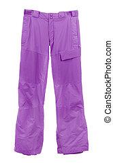 esqui, calças, isolado, ligado, branca,