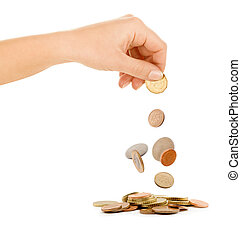 coins fall out of the hand