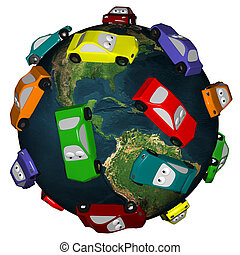 Cars Driving Around the Earth - Many colorful automobiles...