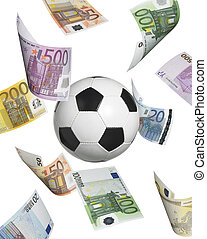 Soccer ball with euro banknotes isolated on white