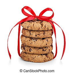 Festive wrapped chocolate pastry cookies isolated on white backg