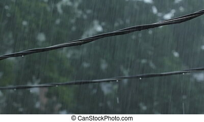 Suburban wires during heavy rain. - Residential electrical...