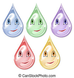 Multicolored drops with cute smileys Character for the...