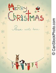 Christmas greeting card with socks for gifts