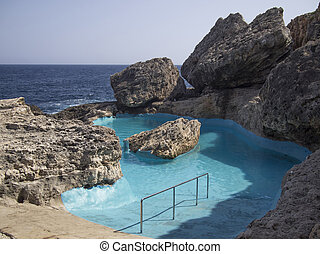 Natural swimming pool with salt water in Majorca island,...