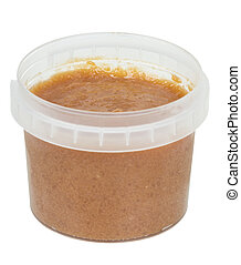 Fish roe in plastic container isolated over white background...