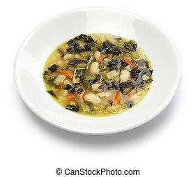 black kale soup, italian food - zuppa di cavolo nero, black...