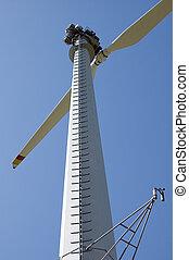 Montaña, viento, turbina
