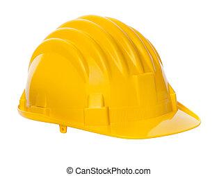 aislado, amarillo, casco,