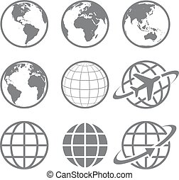 Earth globe Icon set - Set of nine simple Earth globe icons....