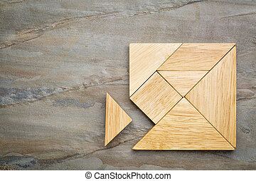 missing piece in tangram puzzle - a missing piece in a...