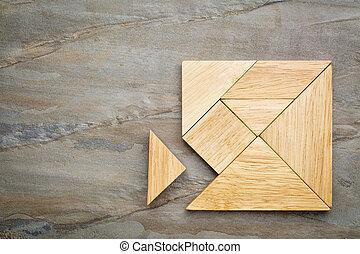 elveszett, darab, alatt, tangram, rejtvény,
