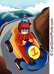 Kids racing in a go-kart - A vector illustration of kids...