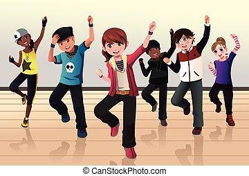 quadril, dança, crianças, classe, pulo