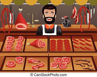 Meat seller in a farmer market - A vector illustrator of...