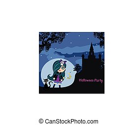 halloween invitation with beautiful witch and creepy castle