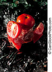 Fresh tomatoes - Splashing on tomatoes