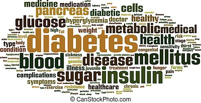 Diabetes word cloud concept Vector illustration