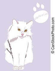 white cat - An illustration of long-haired white cat, with...