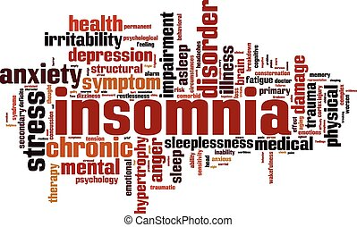 Insomnia word cloud concept Vector illustration