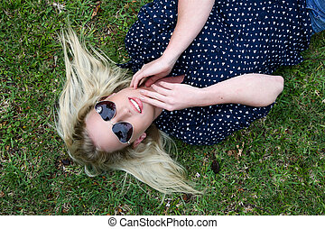 Beautiful Blond Woman with Sunglasses - Lovely young lady...