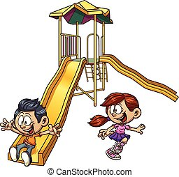 Kids playing - Cartoon kids playing on a slide. Vector clip...