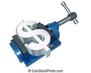 Squeezing the dollar - Isolated illustration of a dollar...