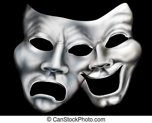 Merging theater masks - Stylized illustration of two theater...
