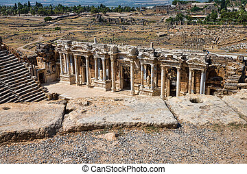 theater in ancient Hierapolis, Turkey - Ruins of theater in...
