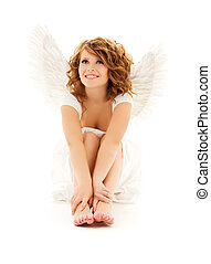 angel - picture of happy teenage angel girl over white