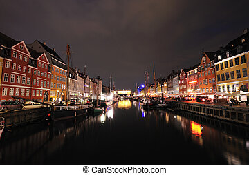 Nyhavn Copenhagen Denmark on summer night